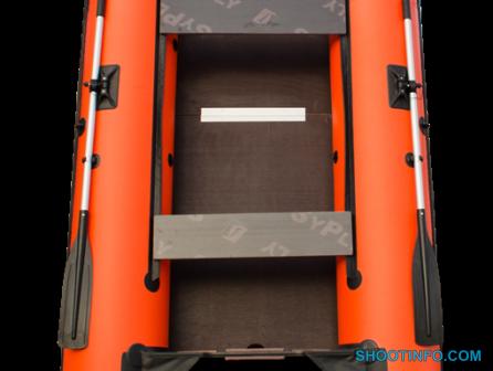 Лодка надувная под мотор Пилигрим-360 оранжево-черный 2